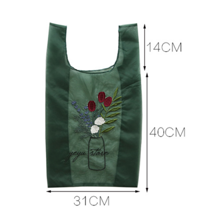 Senhoras flor bordado malha saco de compras