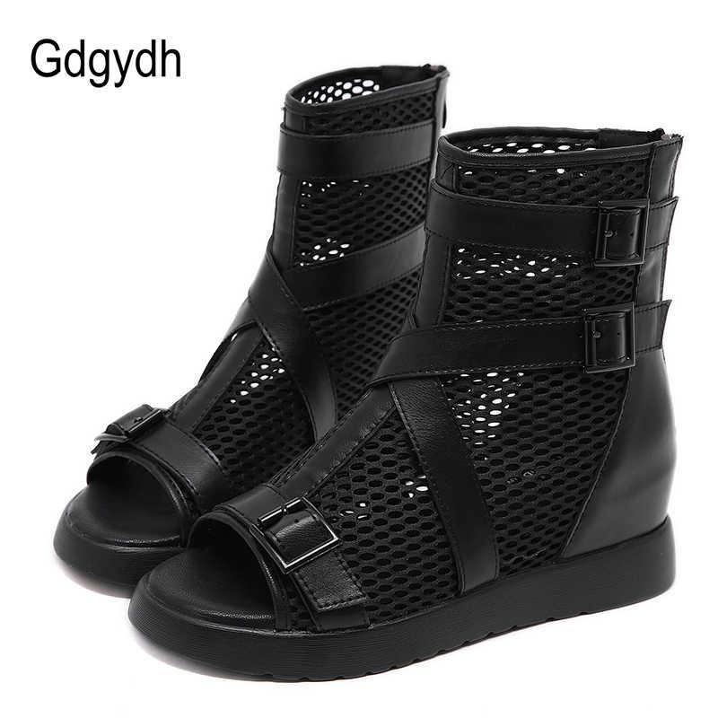 Gdgydh gotik yaz ayakkabı kadın gladyatör ayakkabı bayanlar moda toka kayış Hollow Out Mesh yarım çizmeler burnu açık fermuarlı