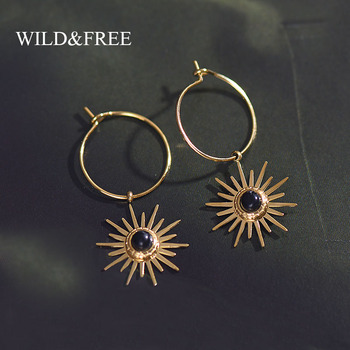 Wild&Free Bohemian Style Cute Sun Pendant Small Hoop Earrings For Women Black Stone Charm Circle Earring Stainless Steel Jewelry