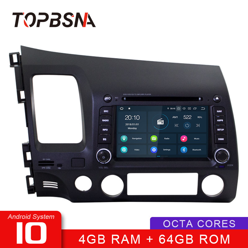 TOPBSNA Android 10 Car DVD Player For HONDA CIVIC 2006-2011 WIFI Multimedia GPS Navigation <font><b>2</b></font> <font><b>Din</b></font> Car Radio Video Stereo RDS Auto image