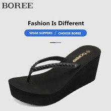 Platform Wedges Flip-Flops Sandals Slipper Beach Women Summer BOREE Bling Chaussures