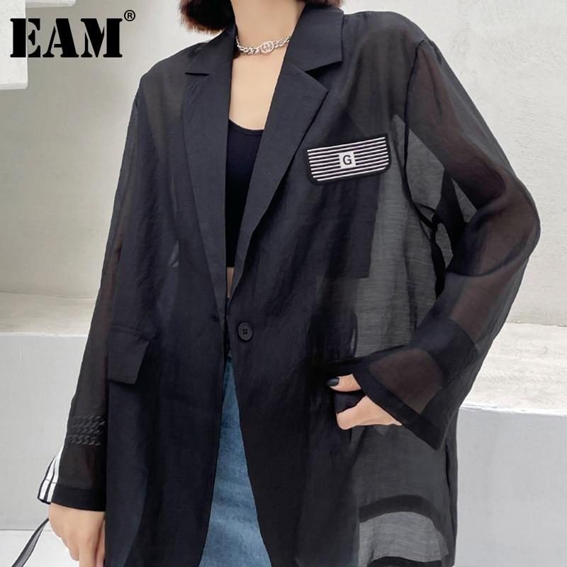 [EAM] Black Spliced Striped Casual Pockets Loose Fit Jacket Lapel Long Sleeve Women Coat Fashion Tide Spring Summer 2021 1DD8891