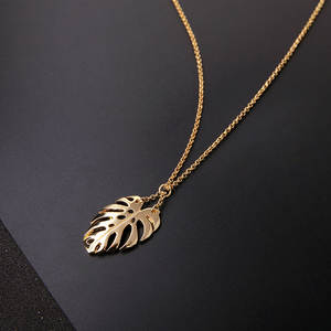 Popular Jewelry Pendant Monstera Gifts Long-Necklace Palm-Leaf Women Gold Female New-Fashion