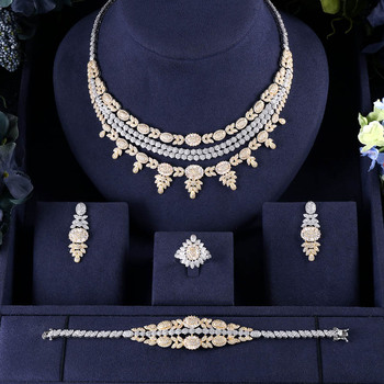 AccKing Gold-Color 4pcs Bridal Zirconia Jewelry Sets For Women Party, Luxury Dubai Nigeria CZ Crystal Wedding Jewelry Sets