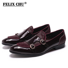 FELIX CHU Mens Wedding Loafers Gentlemen Banquet Party Dress Shoes Patent Leather with Horse Hair Casual Monk Strap Mens Shoes