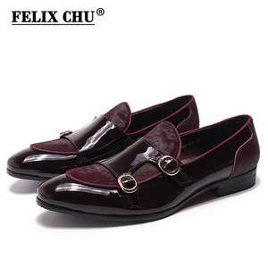 Image 1 - FELIX CHU Mens Wedding Loafers Gentlemen Banquet Party Dress Shoes Patent Leather with Horse Hair Casual Monk Strap Mens Shoes