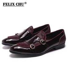 Felix Chu Mens Wedding Loafers Heren Banket Feestjurk Schoenen Lakleer Met Paardenhaar Casual Monnik Riem Mannen schoenen