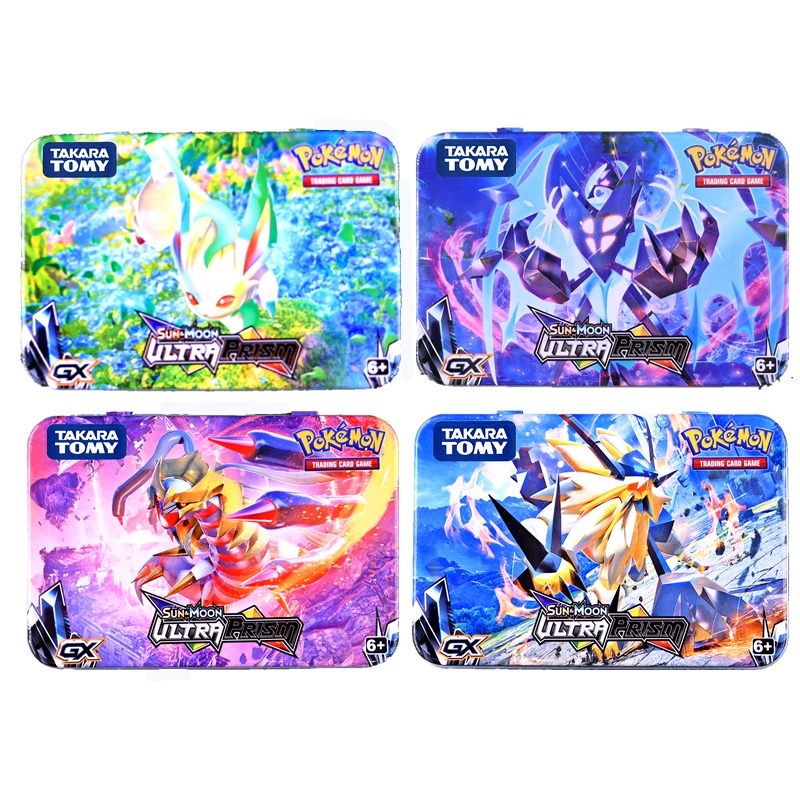 TAKARA TOMY 51 Pcs Pokemon Cards Iron Box Battle Games Hobby Hobby Collectibles Game Collection Anime Cards For Children