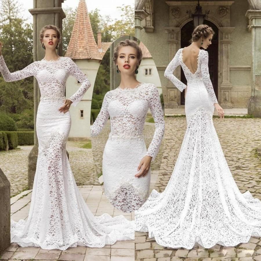 Sexy 2015 Wedding Dresses With Long Sleeve Backless Appliques Mermaid Lace Bridal Gowns