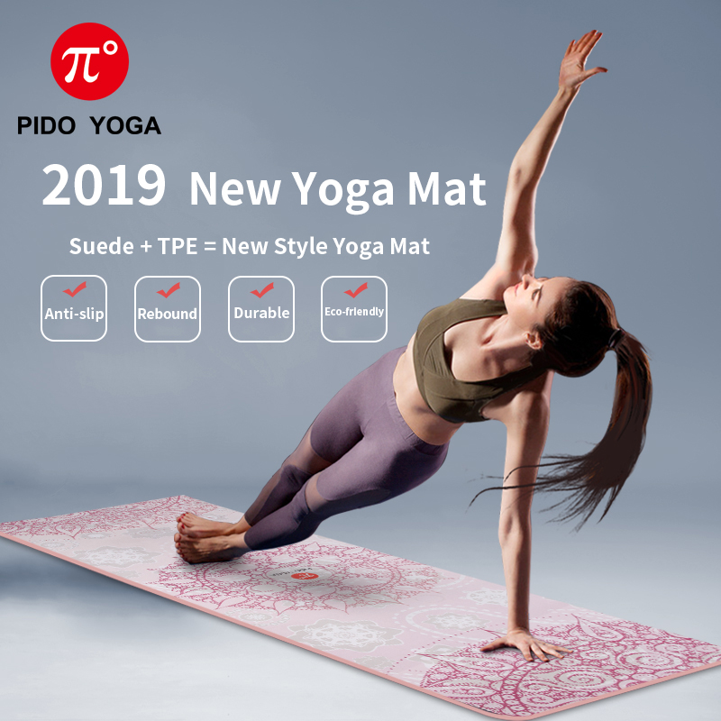 PIDO YOGA Yoga Mat 7mm Thick And Long Printed Suede With TPE Fitness Mat Gym Non-Slip Dance Mat