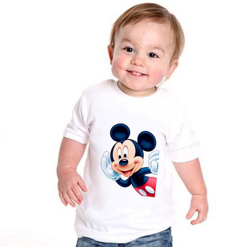 2020 Summer T-shirt Boys Harajuku Mouse Listen Cute Print Girls Top Funny T Shirt Kids Kawaii Korean Design Short Sleeve 24M-9T