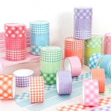 Colour Grid Washi Tape Set Cute Adhesive Tape DIY Decoration Sticker Scrapbooking Diary Masking Tape Stationery Supply 3Pcs/lot цены