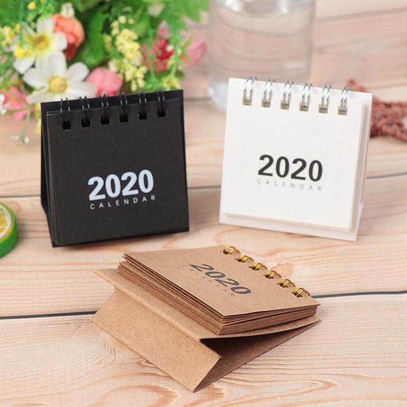 2020 New Year Mini Kraft Paper Desk Calendar Creative Desk Annual Calendar Agenda Organizer Schedule Minimalist Notepad Z3T0