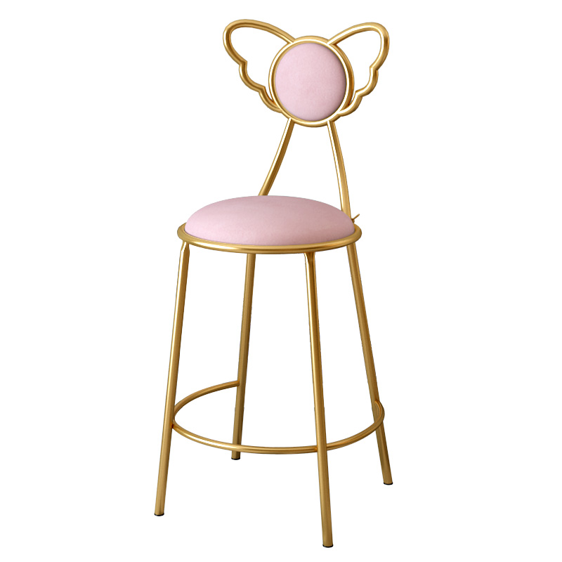 Nordic Ins Home Dressing Makeup Chair Simple Nail Chair Bar Restaurant Backrest Stool Iron Art Dining Chair