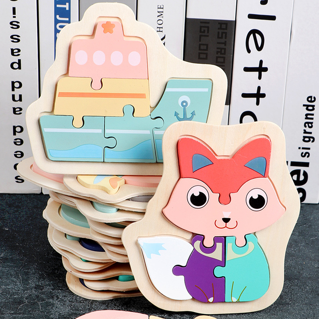 Children Early Education Creative Wooden Colorful Animal Jigsaw Puzzles Toys for Toddler Boys and Girls 2-4 years old