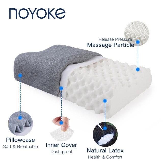 Ortopedik yastık doğal lateks yatak uyku ergonomik yumuşak servikal boyun koruyun masaj yastıkları ile yatak odası için yastık kılıfı