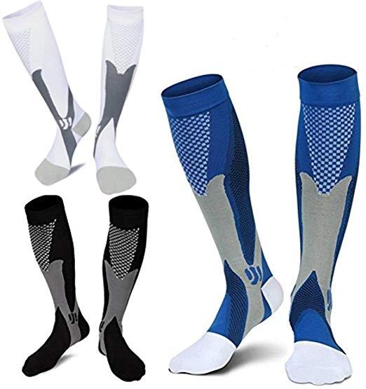 9 estilos homens mulheres meias de compressão apto para esportes preto meias de compressão para anti fadiga alívio da dor no joelho meias altas