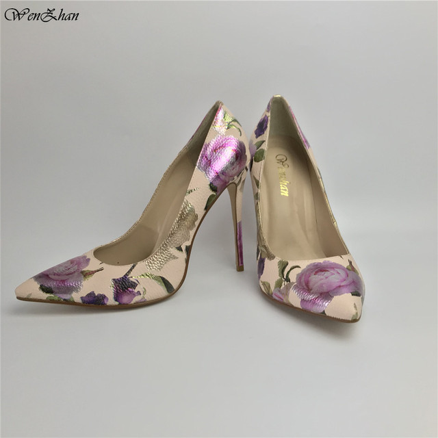 Women Pumps Hot Fashion Purple Flower Pointed Toe Thin High Heels 12CM Heels Pumps Good Quality 36 42 WENZHAN A99 6