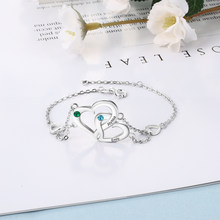 Personalized Interlocking Heart Bracelet with Birthstone For Couples Adjustable Custom Engraved Name Bracelets BBF Lovers Gift(China)