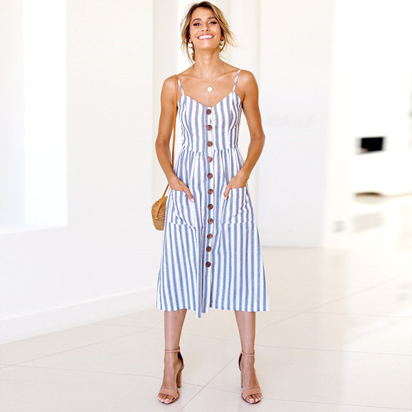 Boho Sexy Floral Dress Summer Vintage Casual Sundress Female Beach Dress Midi Button Backless Polka Dot Striped Women Dress2020  20