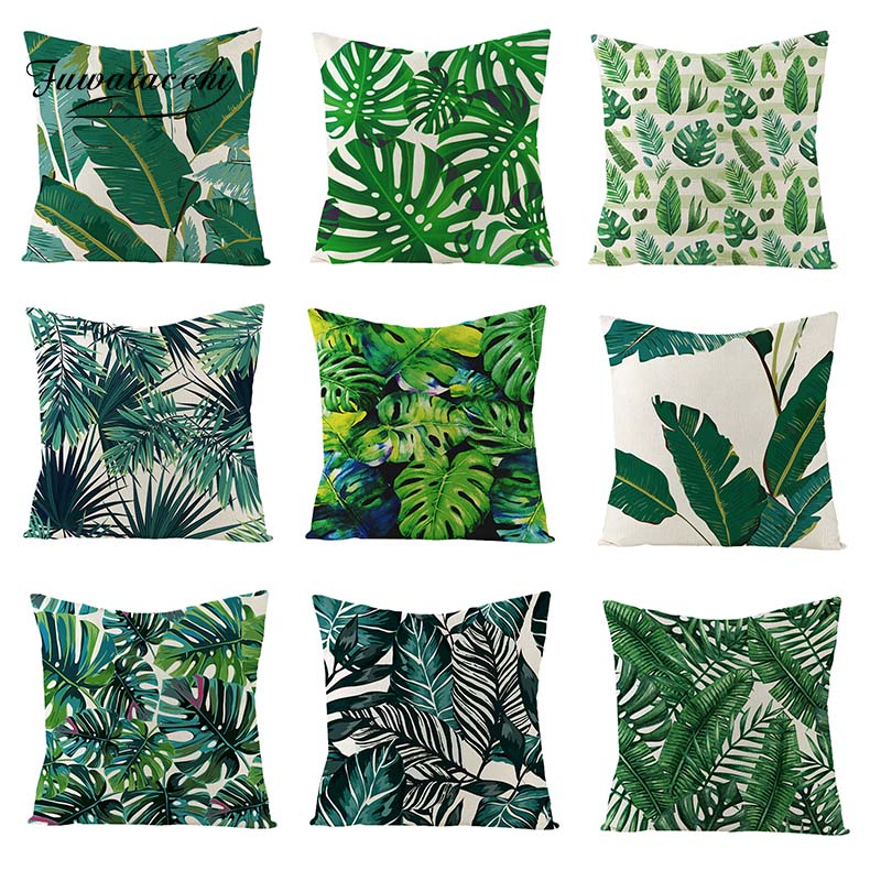 Fuwatacchi Palm Leaves Linen Cushion Cover Summer Gift Home Decor Plants Throw Pillow Cover Green Leaves Tropical Pillowcases