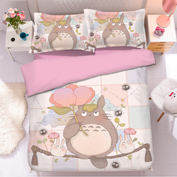 Popular Anime Totoro 3D Bedding Set Duvet Covers Pillowcases Comforter Bedding Sets Bedclothes Bed Linen Totoro bedding sets 01