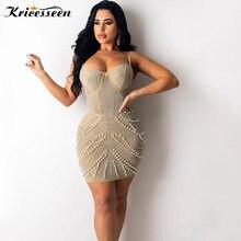 Kricesseen Sexy Glitter Pearl Crystal Mini Dress Women Spagetti Straps Bodycon Sheath Celebrities Clubwear Dresses Female Robes