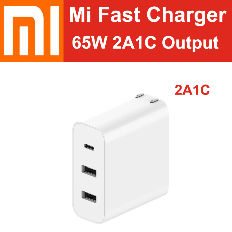 Xiaomi Mi USB Charger 65W Fast Charge Type C USB A US EU UK DE Power Adapter For IOS Android Laptop Notebook MacBook Air Tablets