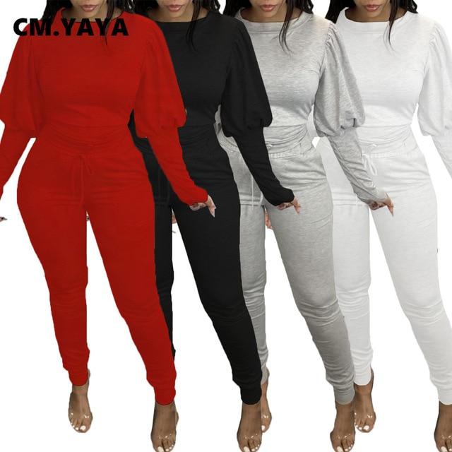 CM.YAYA Sport survêtement femmes ensemble lanterne manches longues sweat survêtement pantalon ensemble survêtement actif deux pièces Fitness tenue