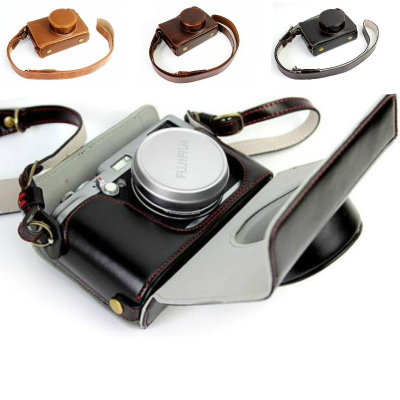 Luxury Camera <font><b>Case</b></font> Video Bag For Fujifilm <font><b>FUJI</b></font> X100 <font><b>X100S</b></font> X100T PU Leather Camera Bag With Strap Open battery design image