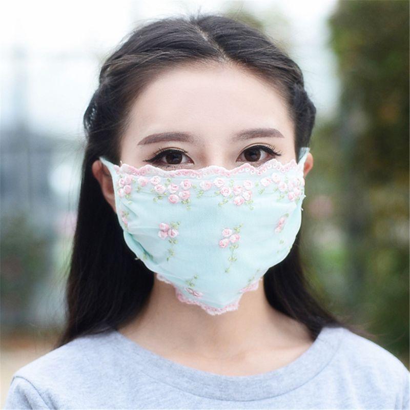 Женская Солнцезащитная маска с цветочным принтом, имитация шелка, Женская дышащая маска с вышивкой PM 2,5, кружевная маска с хлопковой подклад...