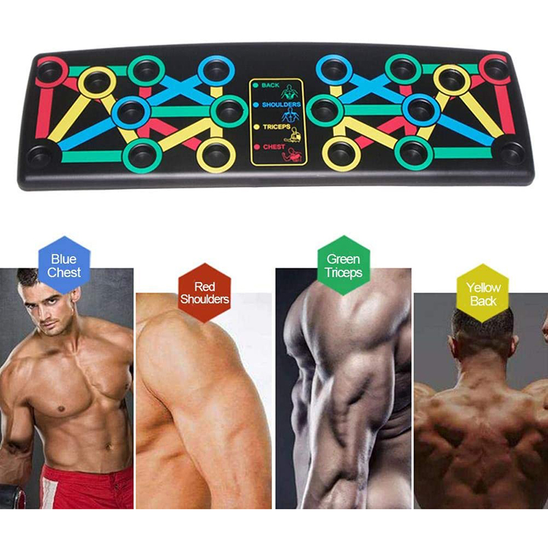 14 In 1 Push Up Board With Instruction Print Body Building Fitness Exercise Tools Men Women Push-up Stands For GYM Body Training