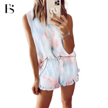Two Pieces Round Neck Women Pajamas Sets Fashion Tie-dye Sle