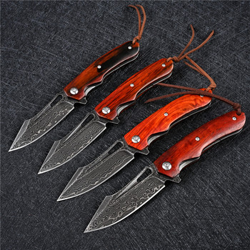 SDOKEDC Knives VG10 Damascus Ball Bearing Hunting Folding Blade Knife Tactical Military Outdoor Survival Edc Wood Pocket Knifes 6