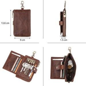 Image 4 - CONTACTS portafogli chiave da uomo in vera pelle portachiavi per auto da uomo custodia governante piccola portamonete cerniera Hasp Design portachiavi