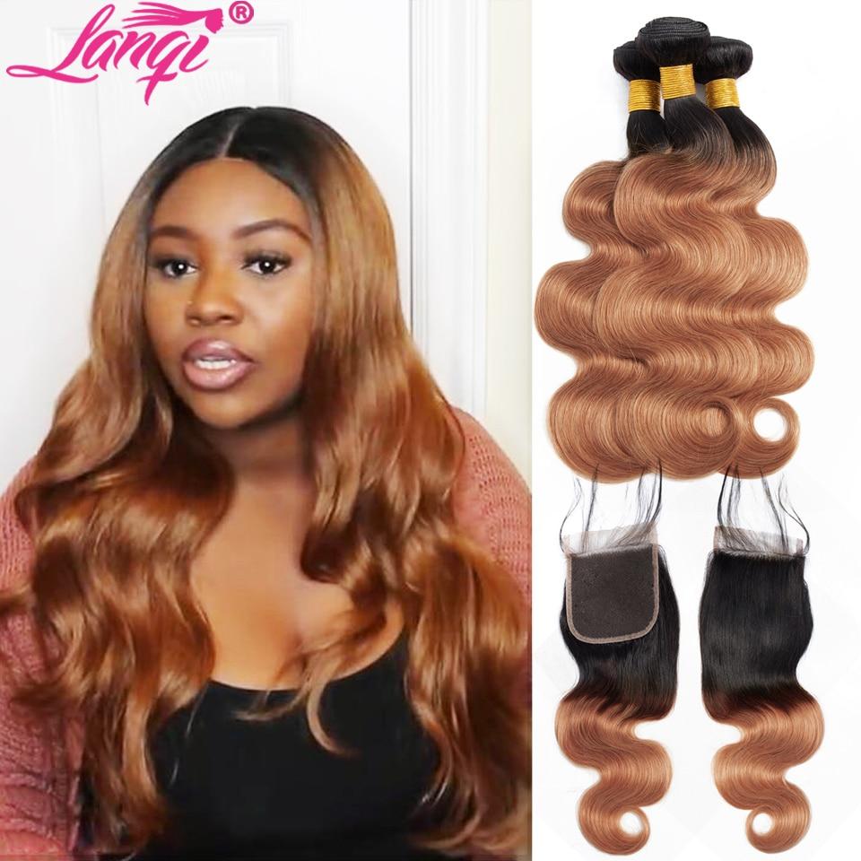 Brazilian Body Wave Bundles With Closure Two Tone Human Hair Weave 1B 30 blonde bundles with closure Ombre Bundles With Closure