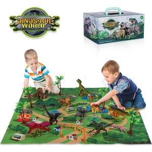 Children's Toys Prehistoric Dinosaurs Toys World Animal Model Action Figures With Playmat Learning Educational Toys Boy Toys