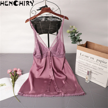 HENCHIRY lace sexy womens nightwear Ice silk suspender skirt new deep V nightdress solid color female