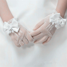 Fishnet-Gloves Ceremony-Accessories Communion-Flower Lace White Kids Pearl Faux Girls