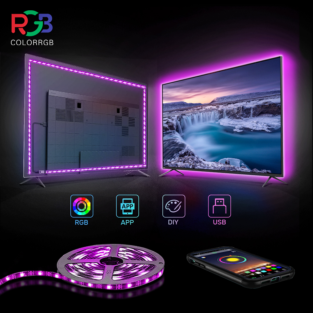 Colorrgb, luz de fundo da tevê, luz de tira conduzida posta por usb, rgb5050 para 24 Polegada-60 Polegada tevê, espelho, pc, viés do controle de app