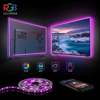 ColorRGB podświetlenie TV USB zasilany LED pasek światła RGB5050 przez 24 Cal-60 Cal telewizor z dostępem do kanałów lustro PC kontrola aplikacji Bias tanie i dobre opinie aiopp CN (pochodzenie) ROHS Salon Przełącznik Taśmy Smd5050 tv back light