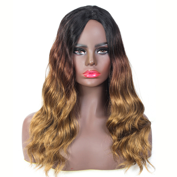 YunRong Heat Resistant Fiber Ombre Synthetic Hair Wig Deep Wave Glueless Middle Part Synthetic Wigs For Woman Black Roots Blonde wignee hand made front ombre color long blonde synthetic wigs for black white women heat resistant middle part cosplay hair wig