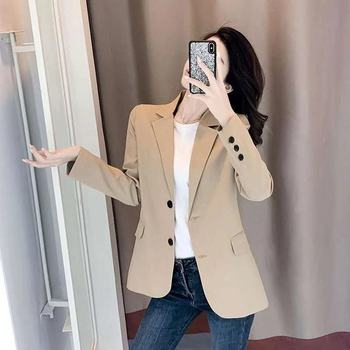 PEONFLY Women Blazer Office Jacket Ladies Fashion Single Breasted Long Sleeve Loose Coat Formal Casual For Spring Autumn 2021 1