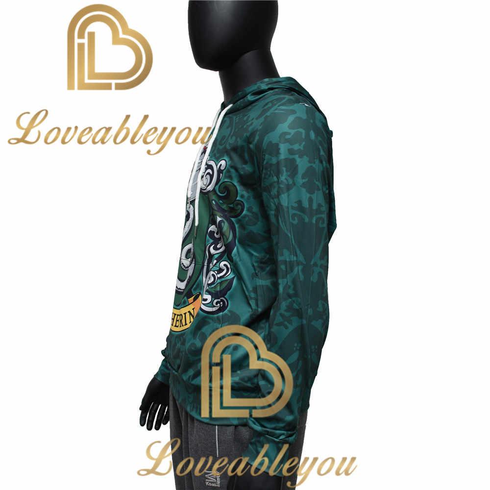 Os fãs usam slytherin 3d impresso hoodie com bolso filme cosplay traje slytherin moletons