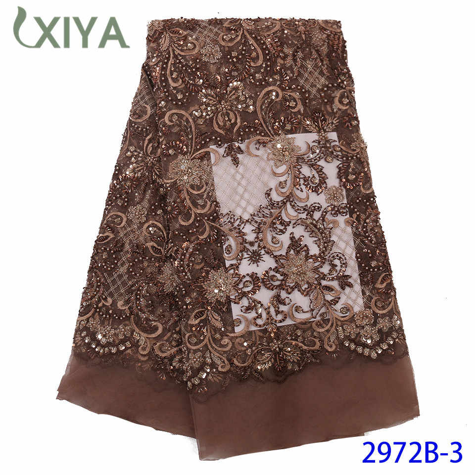 Embroidery African French Tulle Lace with Beads Luxury Handmade Beads Lace Fabrics for Women Dresses Beaded Lace Fabric APW2972B