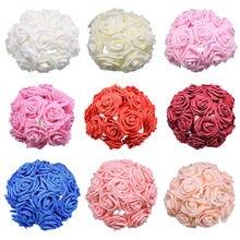 Недорогие цветы 7 см искусственные поролоновые розы букет для
