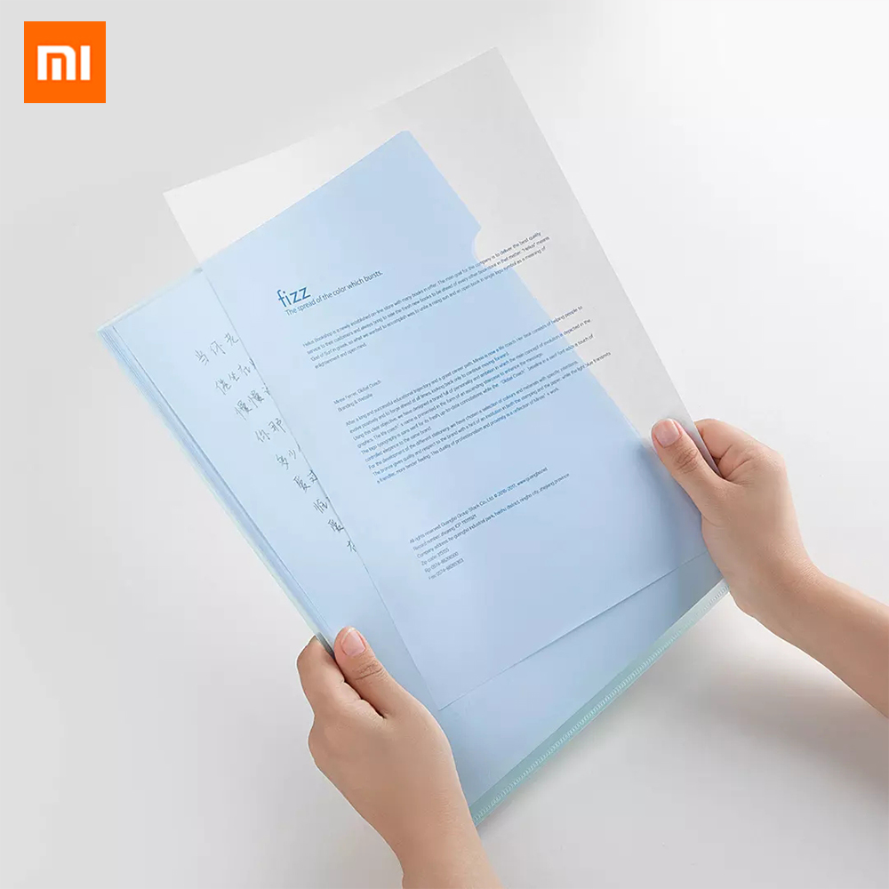 Xiaomi Mijia Fizz L-Shaped Transparent File Set 10 Pack Waterproof Thick PP Material Office Business Ticket Holder Document