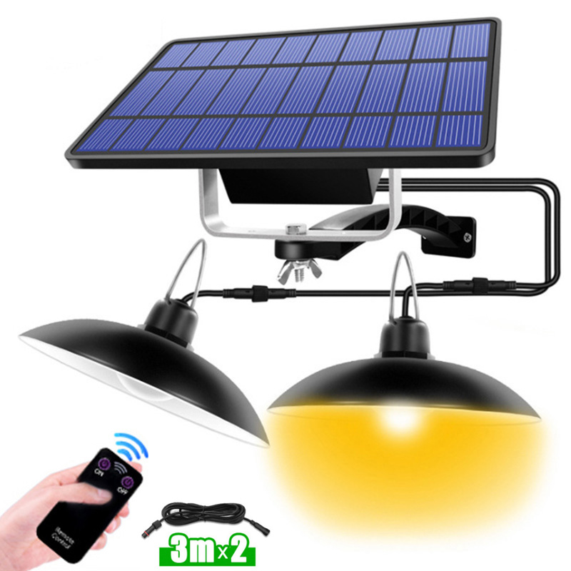 Solar Lights IP65 Waterproof Solar Lamp Lighting Dual Head Led Garden Outdoors Pendant Light  Indoor With Line For Camping Home