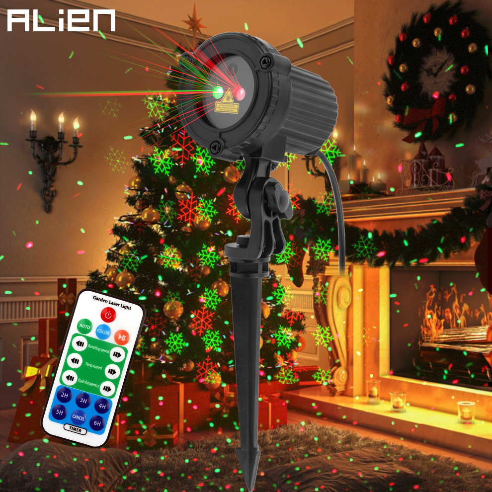ALIEN Red Green Moving Star Dots Snowflake Xmas Laser Light Projector Christmas Tree Party Outdoor Garden Waterproof Lighting
