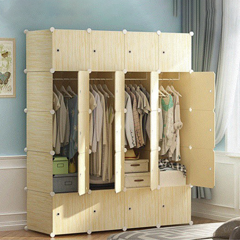 B Simple Wardrobe Economical Assembly Plastic Single Imitation Wood Grain Simple Modern Home Wardrobe Dormitory Cabinet